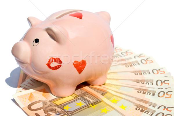 Piggy Bank пятьдесят евро отмечает белый фон Сток-фото © Grafistart
