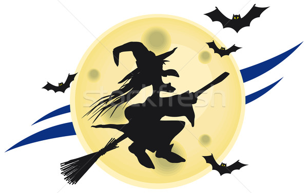Flying witch on broomstick Stock photo © Grafistart