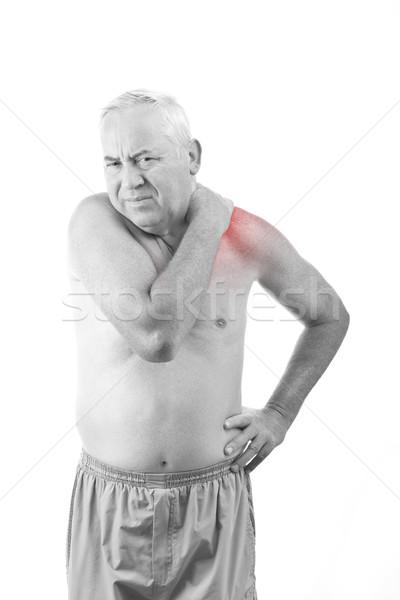 Adam boyun ağrısı kıdemli yalıtılmış beyaz el Stok fotoğraf © grafvision