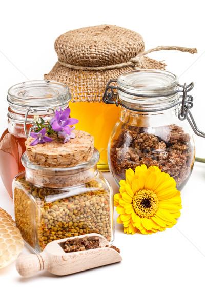 Méz virágpor propolisz étel fa arany Stock fotó © grafvision