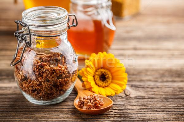Propolis glas jar lepel bloem bee Stockfoto © grafvision