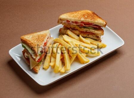 Klub szendvics finom sültkrumpli tányér krumpli saláta Stock fotó © grafvision