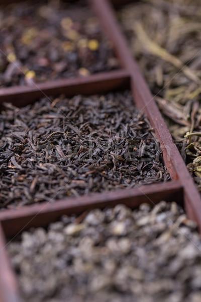 Száraz tea doboz közelkép válogatás fából készült Stock fotó © grafvision