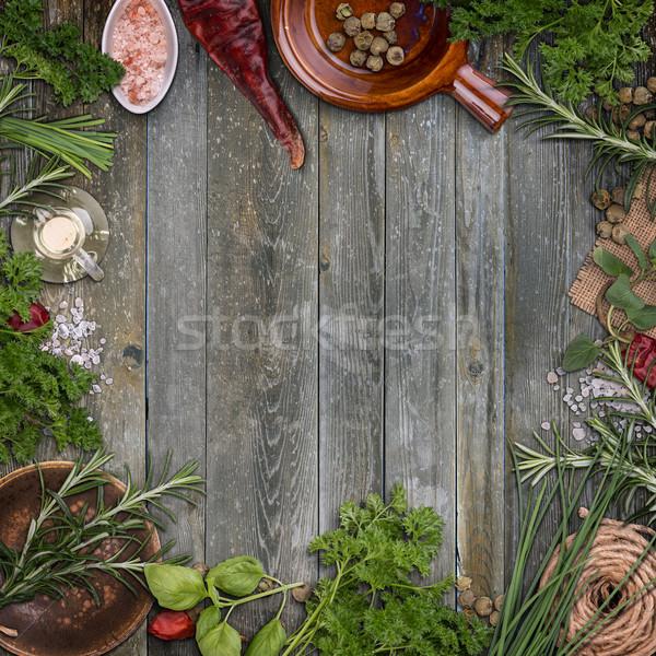 Herbs frame Stock photo © grafvision