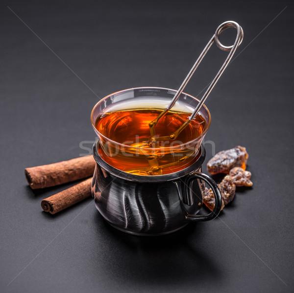 стекла Кубок чай мяча металл пить Сток-фото © grafvision