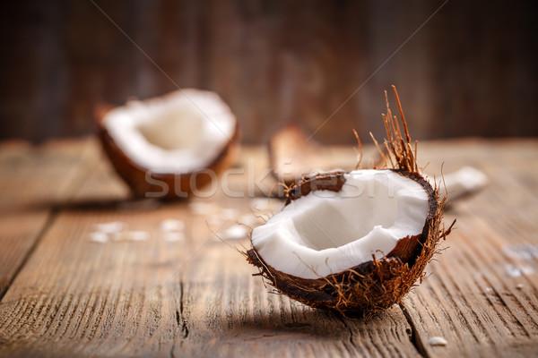 ココナッツ ピース ヴィンテージ 木製 背景 シェル ストックフォト © grafvision