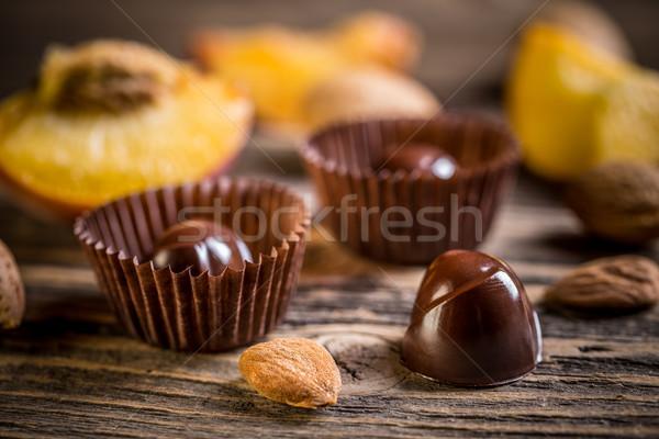 グルメ チョコレート ヴィンテージ 木製 背景 キャンディ ストックフォト © grafvision