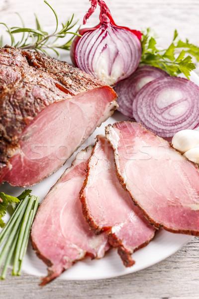 Delicious smoked spicy pork loin Stock photo © grafvision