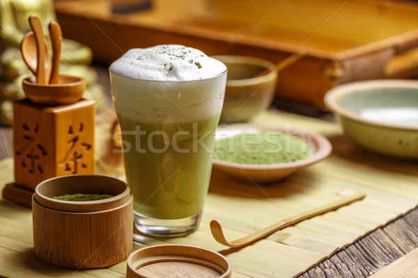 Matcha tea latte in glass Stock photo © grafvision