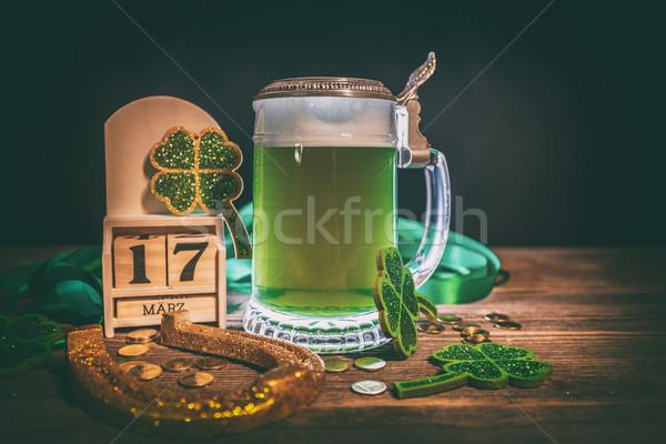 緑 ビール 馬蹄 背景 カレンダー クローバー ストックフォト © grafvision
