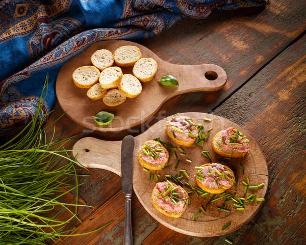 чабер копченый колбаса бекон свинина хлеб Сток-фото © grafvision