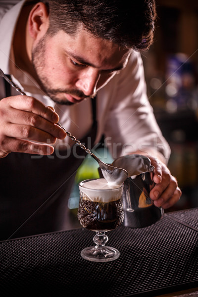 Bartender decorated alcoholic coffee Stock photo © grafvision