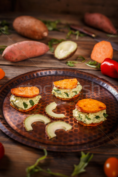 精進料理 アボカド クリーム サツマイモ 緑 ストックフォト © grafvision