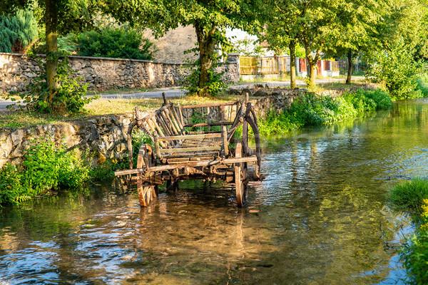 古い 捨てられた 馬 カート ストリーム 水 ストックフォト © grafvision
