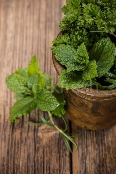 Miedź zioła vintage żywności liści roślin Zdjęcia stock © grafvision