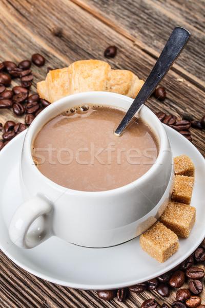 капучино сахар деревянный стол продовольствие кофе службе Сток-фото © grafvision