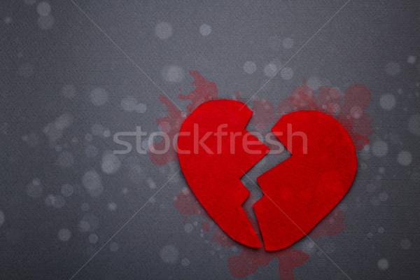Felt red broken heart Stock photo © grafvision