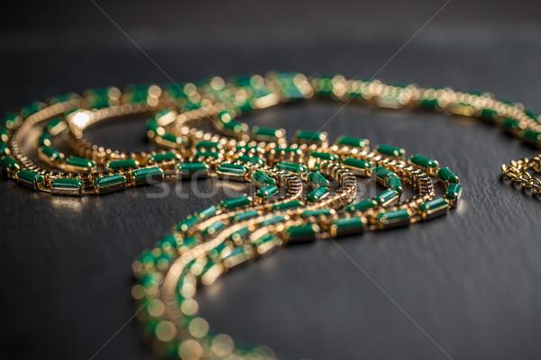 ожерелье зеленый камней моде красоту Сток-фото © grafvision