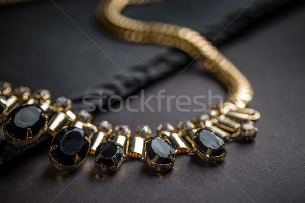 Nyaklánc fekete kövek divat háttér kő Stock fotó © grafvision