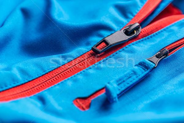Cipzár kabát közelkép textúra háttér kék Stock fotó © grafvision