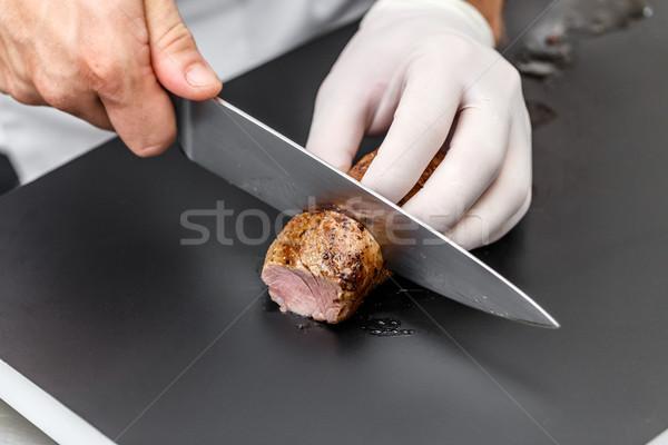 Foto stock: Chef · restaurante · cocina · cocina · lomo