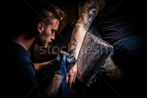 Bearded tattoo artist  Stock photo © grafvision