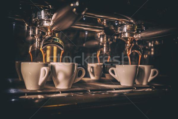 Kávézó részletek eszpresszó kávé áramló gép Stock fotó © grafvision