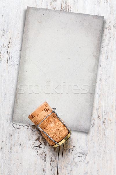 Champagner Kork Karte gemalt Altholz Papier Stock foto © grafvision