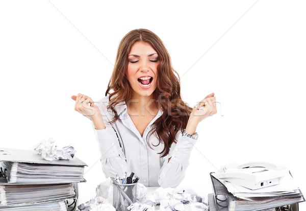 нервный деловая женщина служба бизнеса работу таблице Сток-фото © grafvision