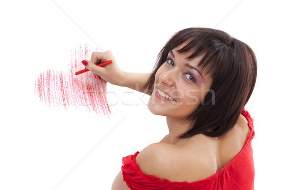 Stok fotoğraf: Kadın · çizim · güzel · genç · kadın · balmumu · mum · boya