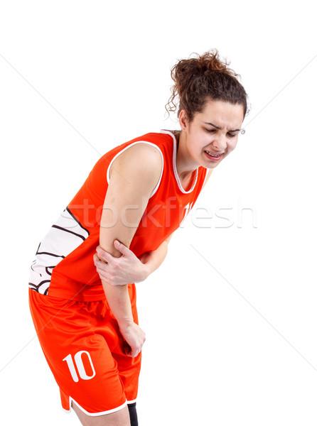 Vrouw elleboog pijn hand witte Stockfoto © grafvision