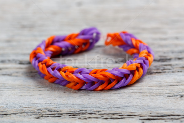 Bracelet bande bois fond orange rétro Photo stock © grafvision