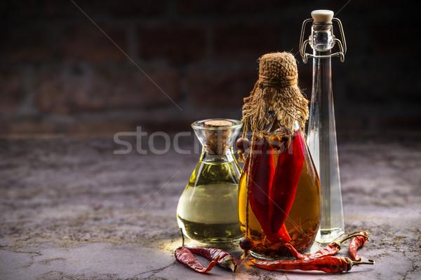 étolaj különböző klasszikus étel üveg háttér Stock fotó © grafvision
