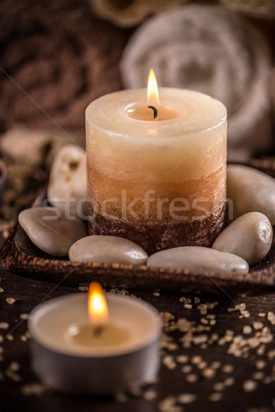 Aromaterapia velas escuro madeira saúde fundo Foto stock © grafvision