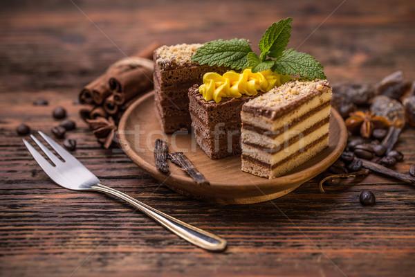 Chocolate and coffee layer cake  Stock photo © grafvision