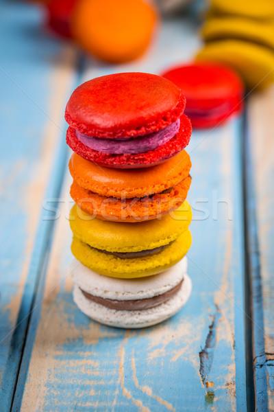 Сток-фото: башни · красочный · macarons · Vintage · синий