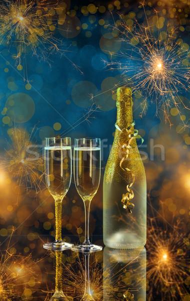 Ano novo dois champanhe óculos pronto festa Foto stock © grafvision