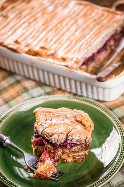 Chleba pudding deser słodkie domowej roboty serwowane Zdjęcia stock © grafvision