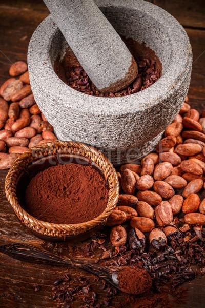 Cacao fagioli produzione pietra greggio pelati Foto d'archivio © grafvision