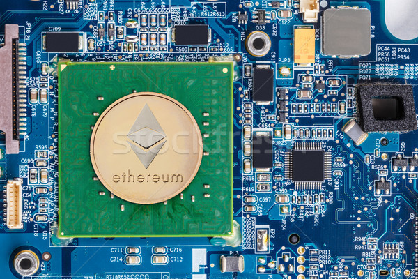 Golden ethereum and conputer motherboard  Stock photo © grafvision