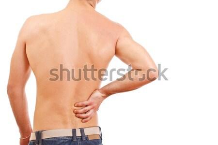 Fiatalember hátfájás izolált fehér izom fiatal Stock fotó © grafvision