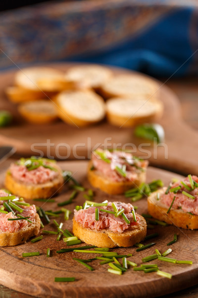 Bruschetta bieslook rustiek brood koud Stockfoto © grafvision
