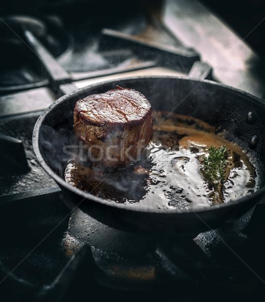 Grelhado bife alecrim frigideira comida restaurante Foto stock © grafvision