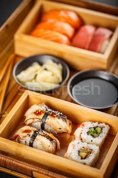 Sushi ayarlamak sashimi hizmet bambu Stok fotoğraf © grafvision