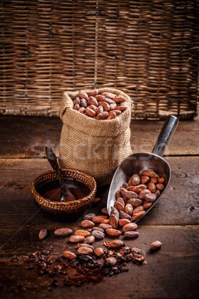 Organik kakao fasulye çuval bezi toz Stok fotoğraf © grafvision