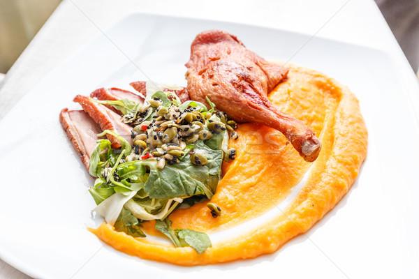 Kaz meme dilim hizmet gıda Stok fotoğraf © grafvision