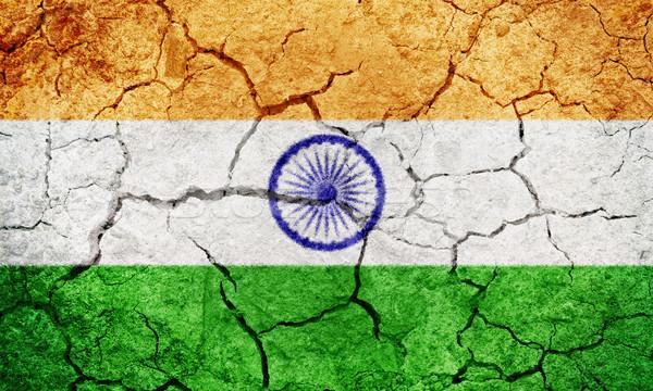 República Índia bandeira secar terra terreno Foto stock © grafvision