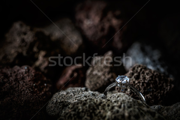 Ring with a polished gemstone Stock photo © grafvision