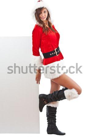Christmas girl in santa hat Stock photo © grafvision