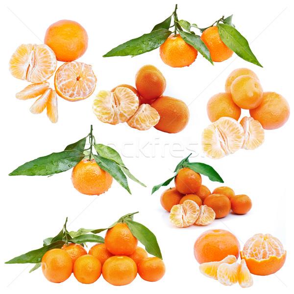Conjunto mandarim doce frutas isolado branco Foto stock © grafvision